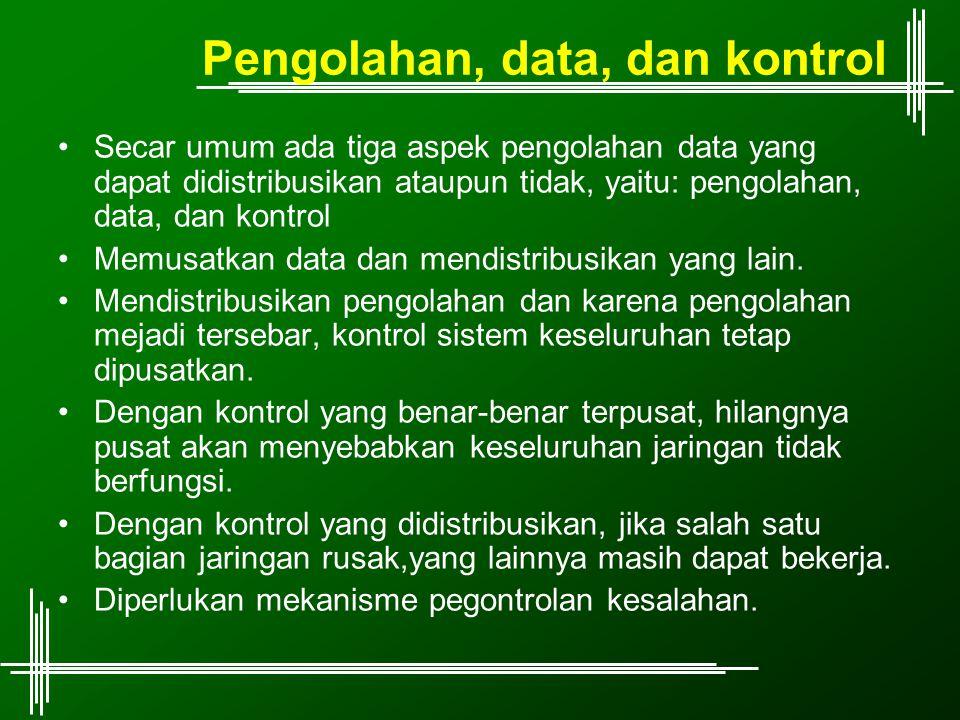 Pengolahan, data, dan kontrol Secar umum ada tiga aspek pengolahan data yang dapat didistribusikan ataupun tidak, yaitu: pengolahan, data, dan kontrol