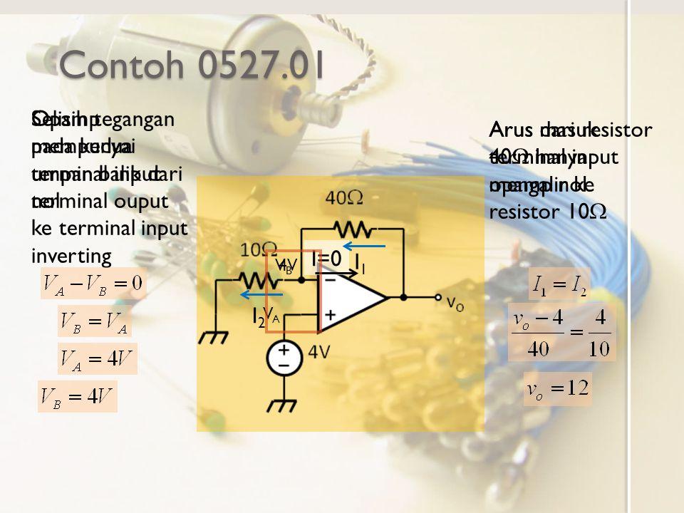 Contoh 0527.01 Opamp mempunyai umpan balik dari terminal ouput ke terminal input inverting Selisih tegangan pada kedua terminal input nol VAVA VBVB Ar