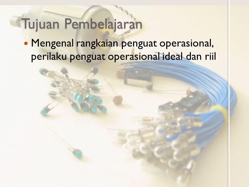 Pendahuluan Penguat operasional (operational amplifier, OpAmp) adalah rangkaian yang berperilakusebagai sumber tegangan dependen yang dikendalikan oleh selisih tegangan pada inputnya Penguat operasional saat ini merupakan rangkaian terintegrasi.