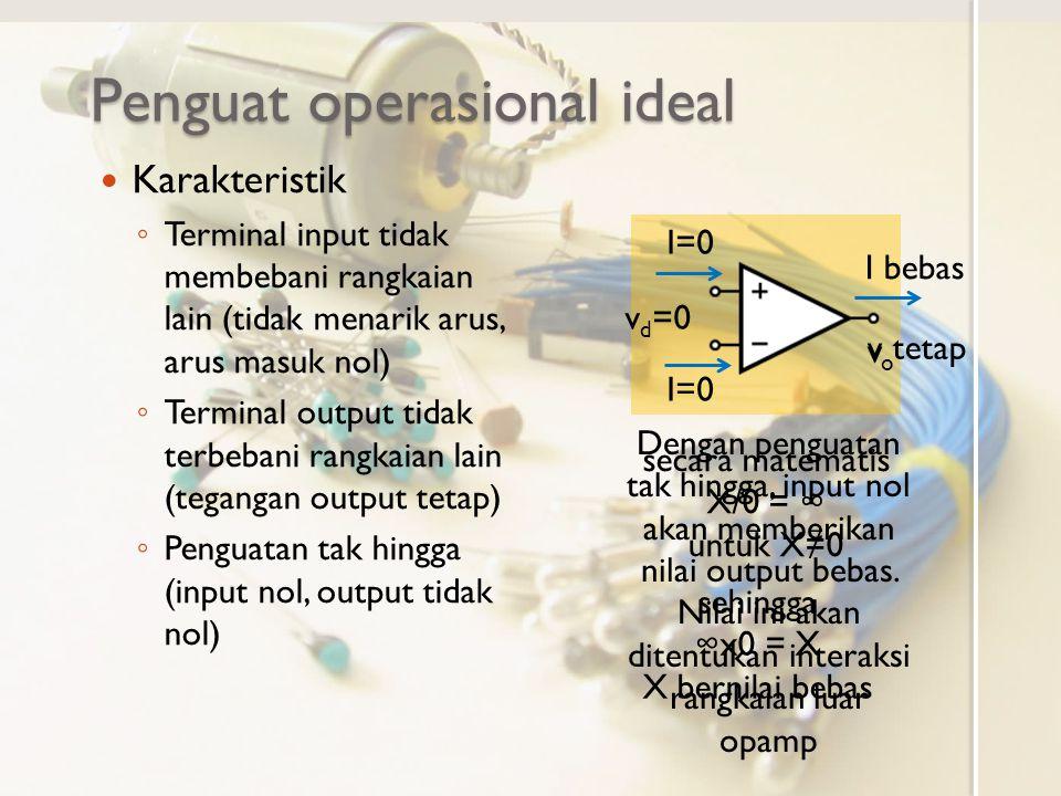 Penguat Operasional Riil Karakteristik (tidak memenuhi karakteristik opamp ideal) ◦ Ada resistansi input R i (besar, orde M  atau lebih) ◦ Ada resistansi output (kecil, orde 10  atau kurang) ◦ Penguatan terbatas (besar, orde 10 4 atau lebih) Opamp Ideal A=∞ A≠∞