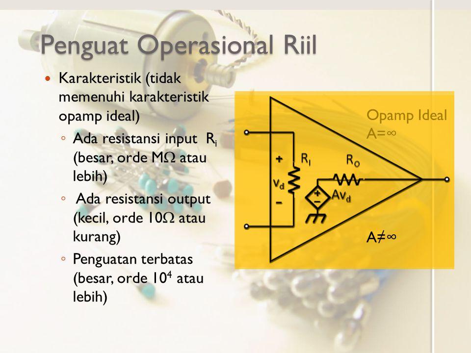 Ketidakidealan Lain Tegangan output terbatas (oleh tegangan catu daya, nilai maksimum/ saturasi mendekati tegangan catu daya) Adanya tegangan offset (tegangan output tidak nol saat selisih tegangan input nol) Perlu rangkaian kompensasi tegangan offset di luar opamp (Opamp modern memiliki rangkaian kompensasi tegangan offset internal) V + tegangan catu daya positif V - tegangan catu daya negatif