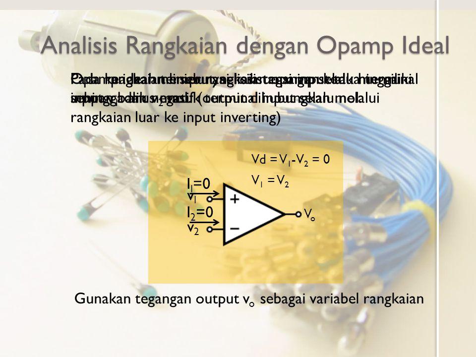 Analisis Opamp dengan SPICE Opamp tidak dianggap dapat dianggap ideal ◦ Gunakan model dengan resistor dan sumber tegangan dependen Pilih nilai R i dan A yang cukup besar dan R o yang cukup kecil Misalnya R i 1G  R O 1m  A 1O 6