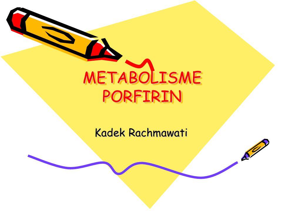 Porfirin : senyawa siklik, gabungan 4 cincin pirol melalui jembatan metenil Sifat khas porfirin : membentuk kom- pleks dengan ion logam Mis.