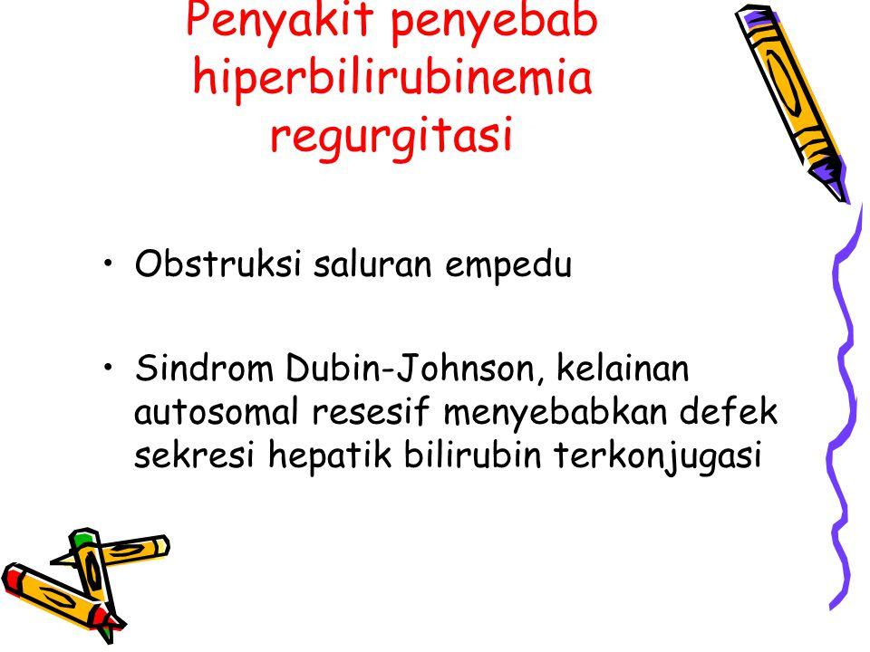 Penyakit penyebab hiperbilirubinemia regurgitasi Obstruksi saluran empedu Sindrom Dubin-Johnson, kelainan autosomal resesif menyebabkan defek sekresi