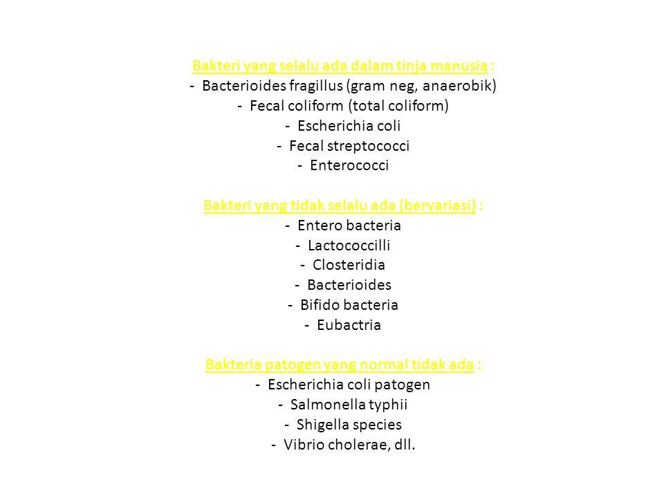 Protozoa Dalam Tinja - Dalam bentuk infektif adalah kista yang tertelan - Hanya ada 3 species protozoa usus manusia yang patogen : ProtozoaPenyakitReservoir Balantidium coli Diare, disentri, tukak colon Manusia, Babi dan Tikus Entamoeba histolitica Tukak colon, disentri amoeba, abses hati Manusia Giardia lamblia Diare dan malabsorpsi Manusia dan binatang
