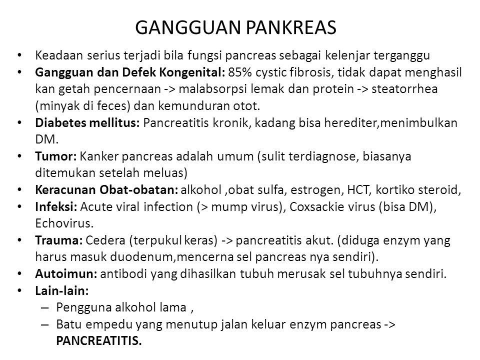 GANGGUAN PANKREAS Keadaan serius terjadi bila fungsi pancreas sebagai kelenjar terganggu Gangguan dan Defek Kongenital: 85% cystic fibrosis, tidak dap