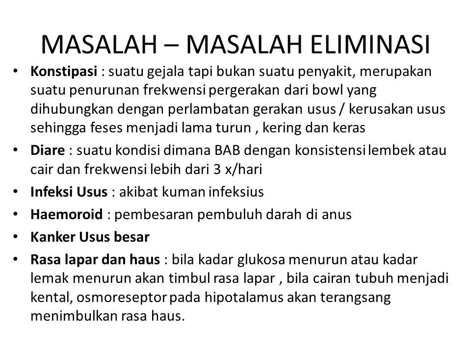 MASALAH – MASALAH ELIMINASI Konstipasi : suatu gejala tapi bukan suatu penyakit, merupakan suatu penurunan frekwensi pergerakan dari bowl yang dihubun