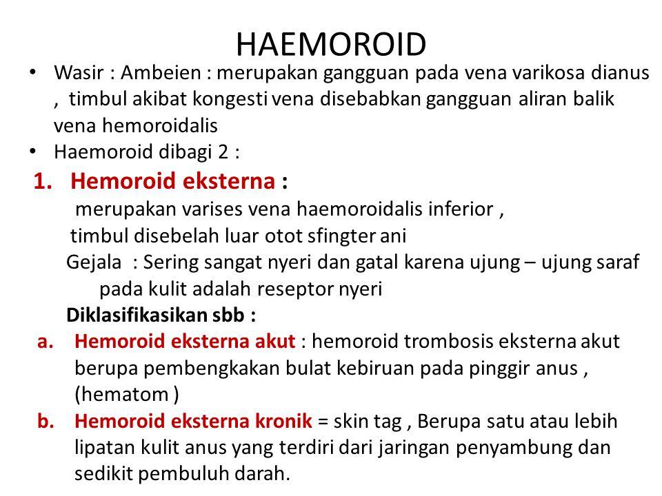 HAEMOROID Wasir : Ambeien : merupakan gangguan pada vena varikosa dianus, timbul akibat kongesti vena disebabkan gangguan aliran balik vena hemoroidal