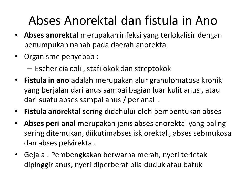Abses Anorektal dan fistula in Ano Abses anorektal merupakan infeksi yang terlokalisir dengan penumpukan nanah pada daerah anorektal Organisme penyeba