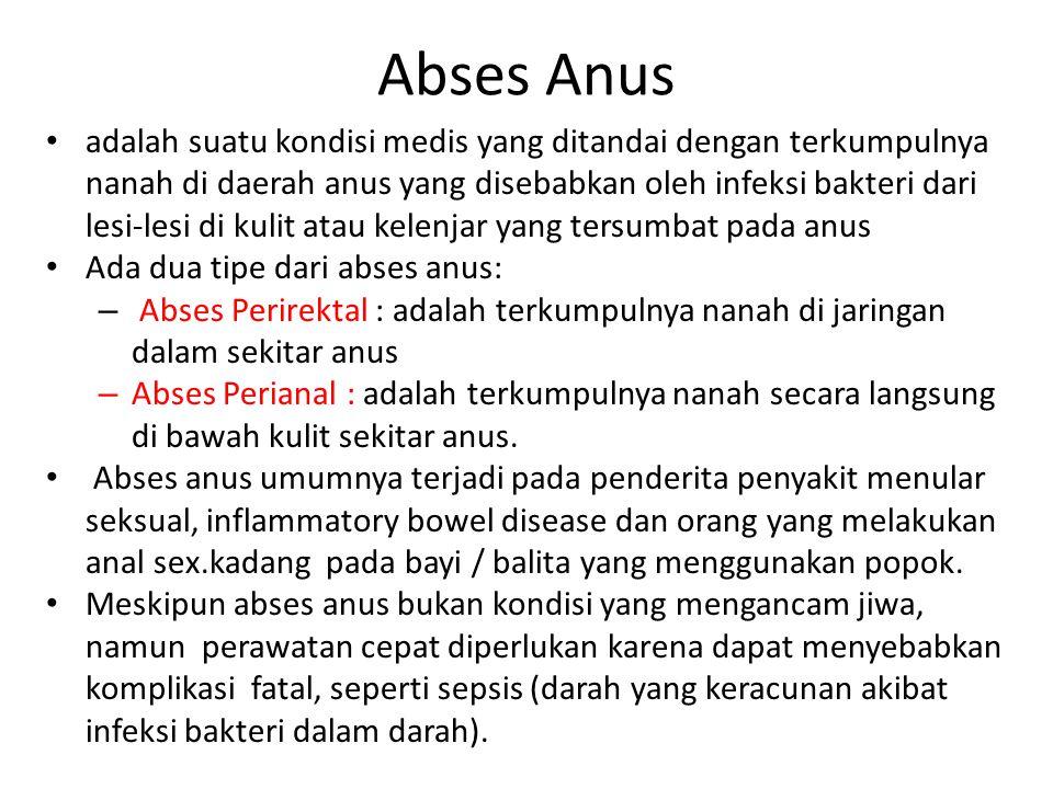 Abses Anus adalah suatu kondisi medis yang ditandai dengan terkumpulnya nanah di daerah anus yang disebabkan oleh infeksi bakteri dari lesi-lesi di ku