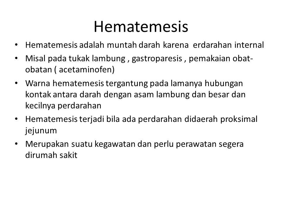 Hematemesis Hematemesis adalah muntah darah karena erdarahan internal Misal pada tukak lambung, gastroparesis, pemakaian obat- obatan ( acetaminofen)