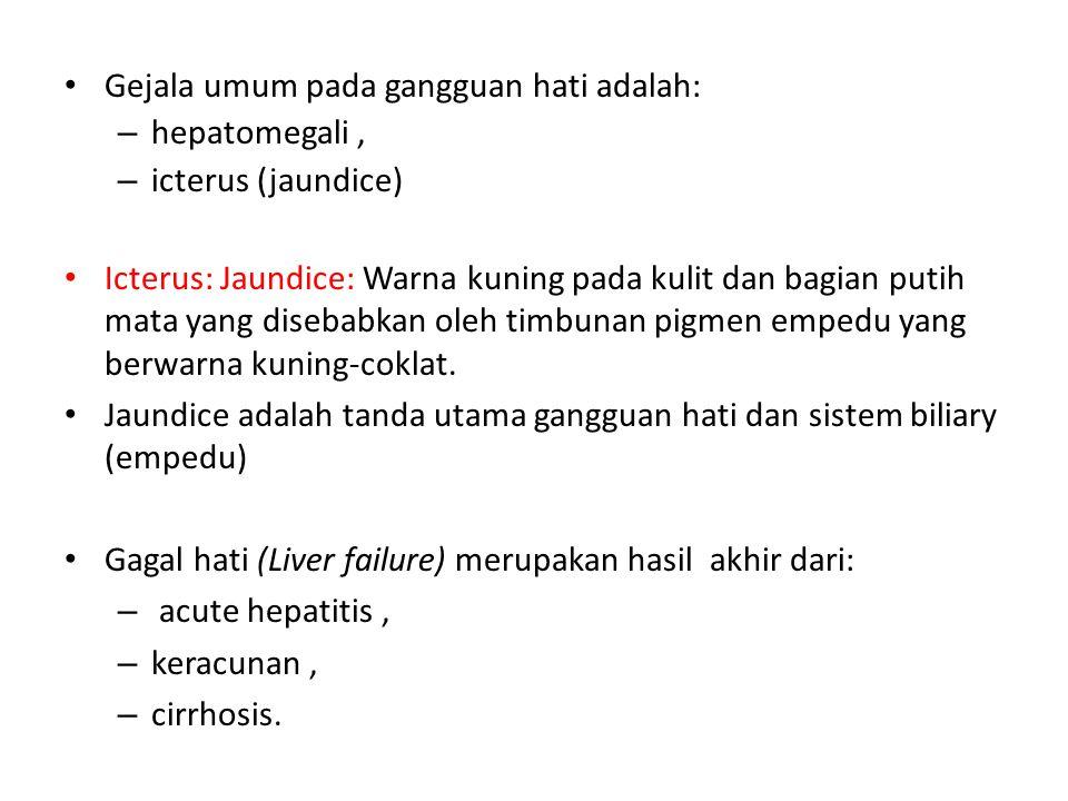 Gejala umum pada gangguan hati adalah: – hepatomegali, – icterus (jaundice) Icterus: Jaundice: Warna kuning pada kulit dan bagian putih mata yang dise