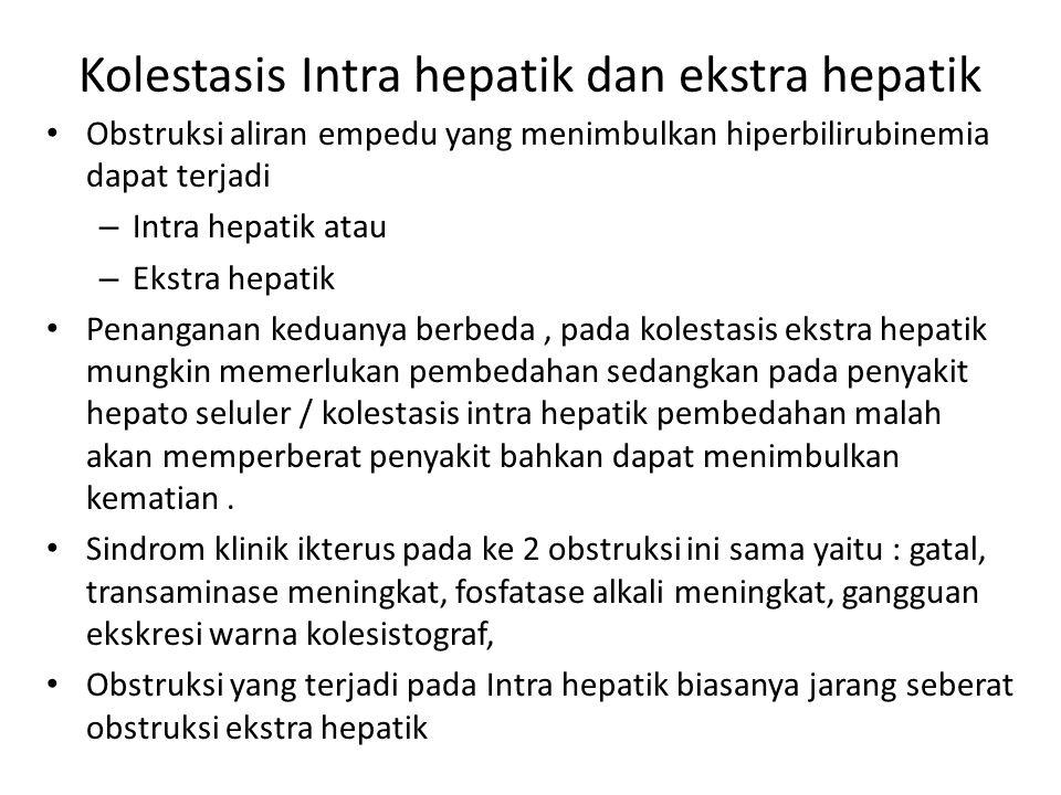 Kolestasis Intra hepatik dan ekstra hepatik Obstruksi aliran empedu yang menimbulkan hiperbilirubinemia dapat terjadi – Intra hepatik atau – Ekstra he