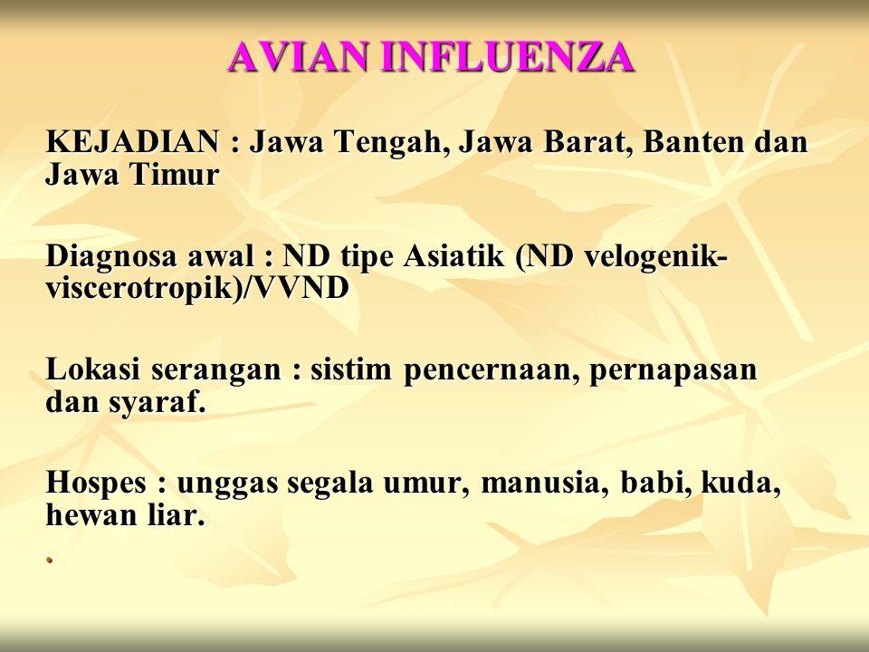 Penyebab : Virus RNA, Fam.Orthomyxoviridae, Genus : Orthomyxovirus : tipe A, B dan C.