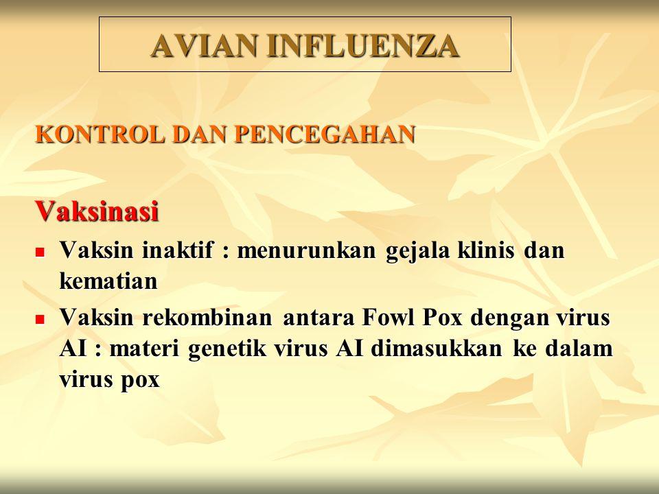 KONTROL DAN PENCEGAHAN Vaksinasi Vaksin inaktif : menurunkan gejala klinis dan kematian Vaksin inaktif : menurunkan gejala klinis dan kematian Vaksin rekombinan antara Fowl Pox dengan virus AI : materi genetik virus AI dimasukkan ke dalam virus pox Vaksin rekombinan antara Fowl Pox dengan virus AI : materi genetik virus AI dimasukkan ke dalam virus pox AVIAN INFLUENZA