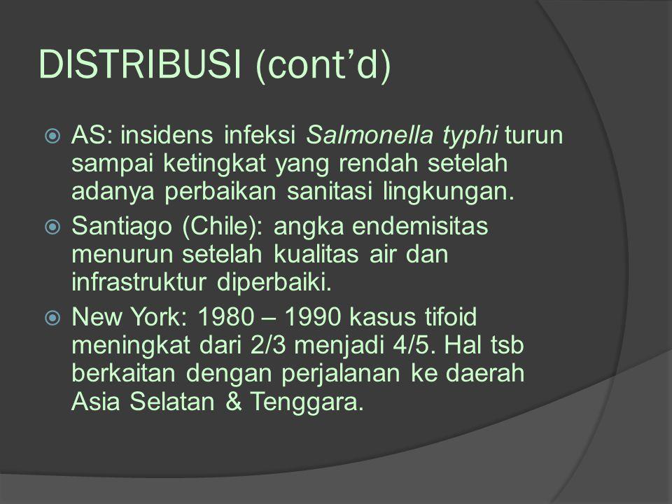DISTRIBUSI (cont'd)  AS: insidens infeksi Salmonella typhi turun sampai ketingkat yang rendah setelah adanya perbaikan sanitasi lingkungan.  Santiag
