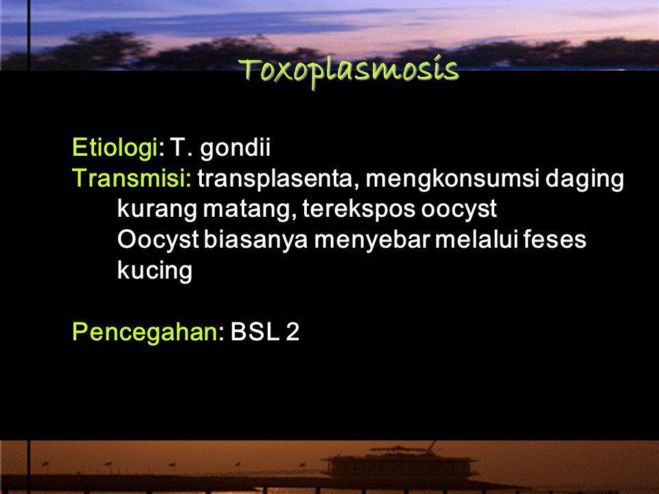 Toxoplasmosis Etiologi: T. gondii Transmisi: transplasenta, mengkonsumsi daging kurang matang, terekspos oocyst Oocyst biasanya menyebar melalui feses