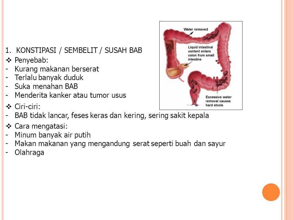 1.KONSTIPASI / SEMBELIT / SUSAH BAB  Penyebab: -Kurang makanan berserat -Terlalu banyak duduk -Suka menahan BAB -Menderita kanker atau tumor usus  C