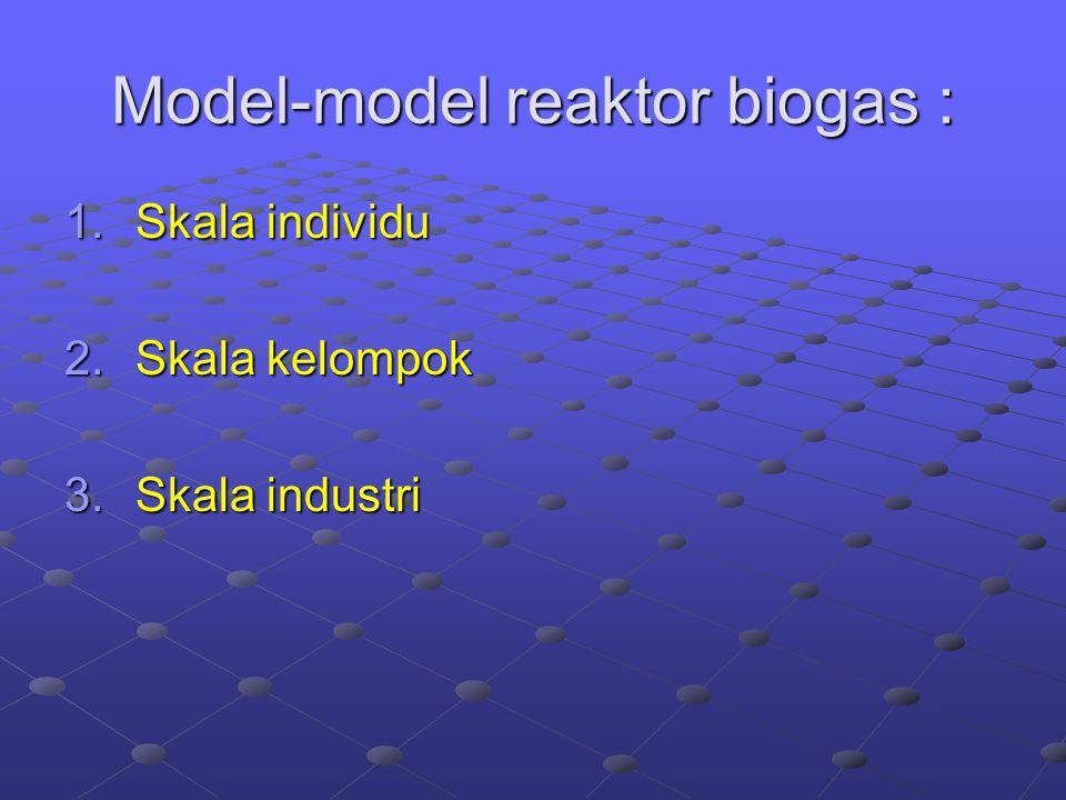 Model-model reaktor biogas : 1.Skala individu 2.Skala kelompok 3.Skala industri