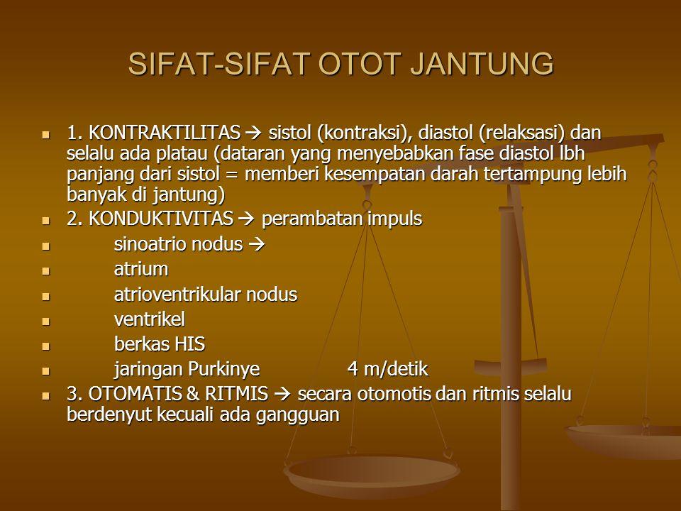 SIFAT-SIFAT OTOT JANTUNG 1. KONTRAKTILITAS  sistol (kontraksi), diastol (relaksasi) dan selalu ada platau (dataran yang menyebabkan fase diastol lbh