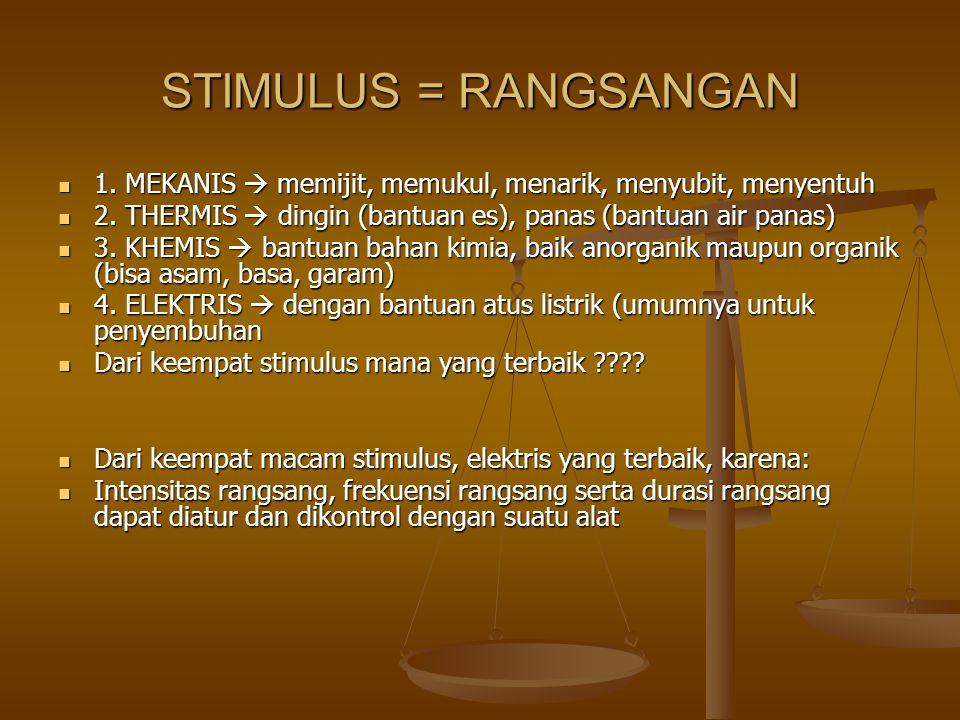 STIMULUS = RANGSANGAN 1. MEKANIS  memijit, memukul, menarik, menyubit, menyentuh 1. MEKANIS  memijit, memukul, menarik, menyubit, menyentuh 2. THERM