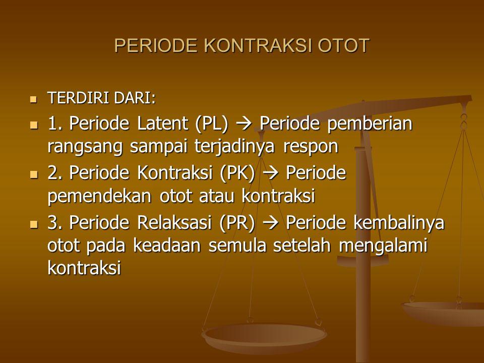 PERIODE KONTRAKSI OTOT TERDIRI DARI: TERDIRI DARI: 1. Periode Latent (PL)  Periode pemberian rangsang sampai terjadinya respon 1. Periode Latent (PL)