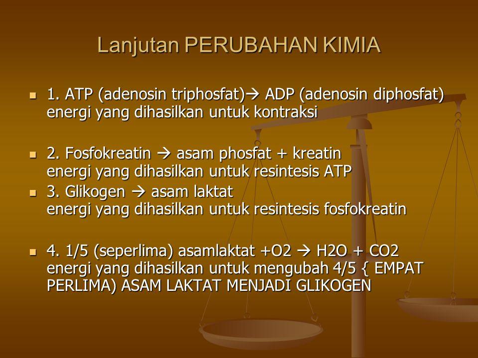 Lanjutan PERUBAHAN KIMIA 1. ATP (adenosin triphosfat)  ADP (adenosin diphosfat) energi yang dihasilkan untuk kontraksi 1. ATP (adenosin triphosfat) 