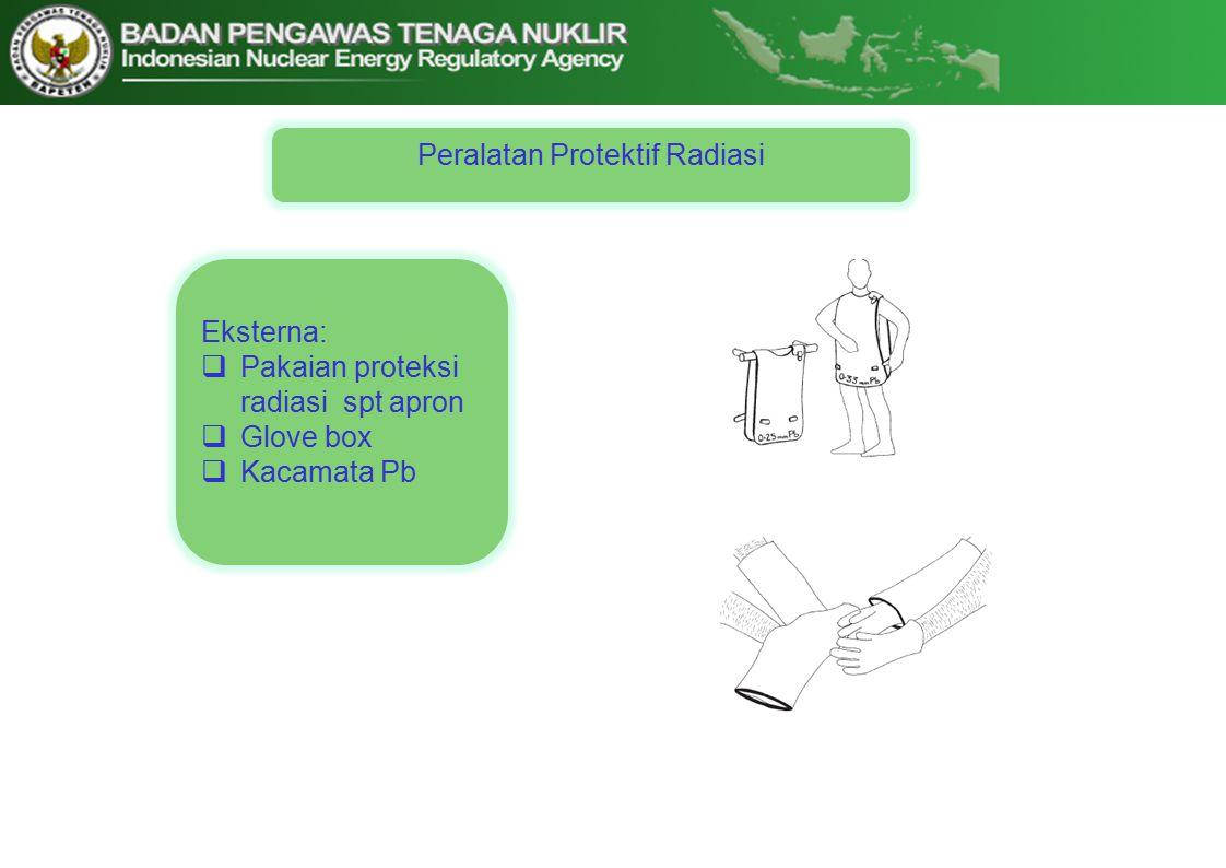 Eksterna:  Pakaian proteksi radiasi spt apron  Glove box  Kacamata Pb Peralatan Protektif Radiasi