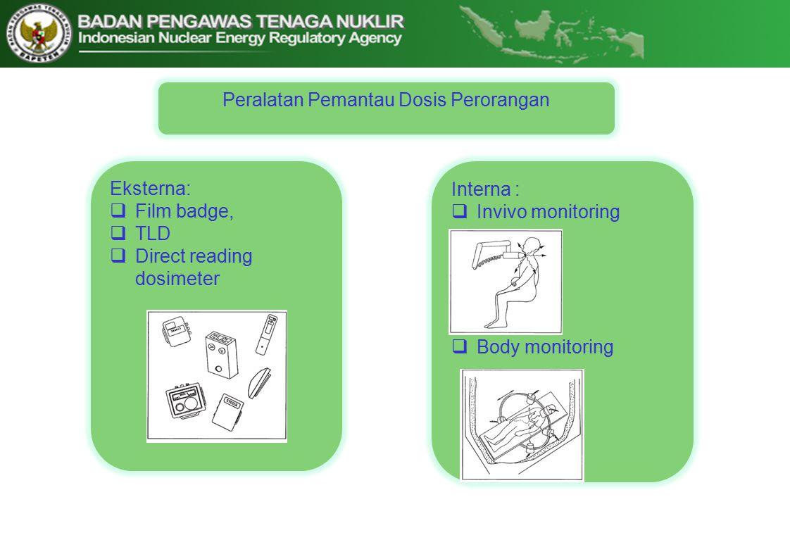 Eksterna:  Film badge,  TLD  Direct reading dosimeter Peralatan Pemantau Dosis Perorangan Interna :  Invivo monitoring  Body monitoring