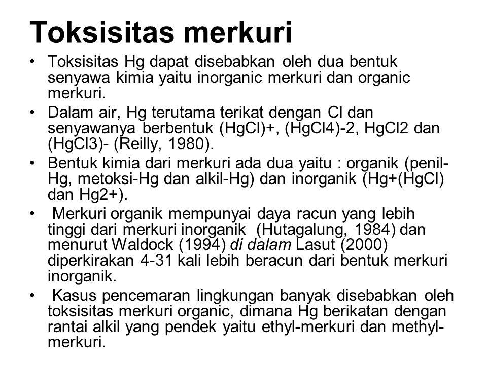 Toksisitas merkuri Toksisitas Hg dapat disebabkan oleh dua bentuk senyawa kimia yaitu inorganic merkuri dan organic merkuri.