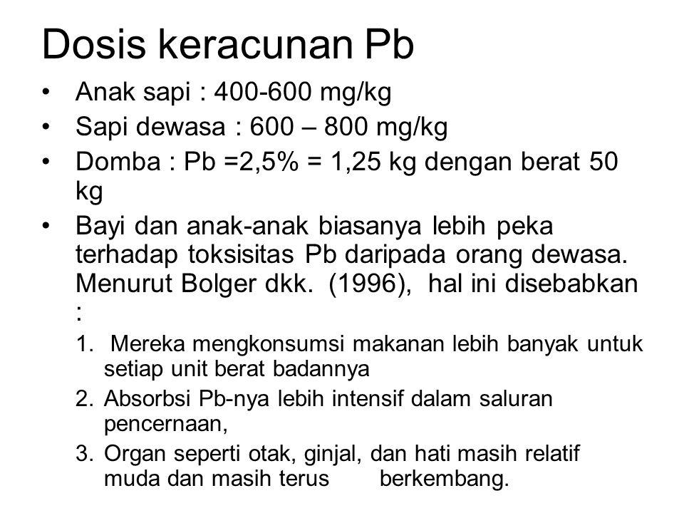Dosis keracunan Pb Anak sapi : 400-600 mg/kg Sapi dewasa : 600 – 800 mg/kg Domba : Pb =2,5% = 1,25 kg dengan berat 50 kg Bayi dan anak-anak biasanya lebih peka terhadap toksisitas Pb daripada orang dewasa.