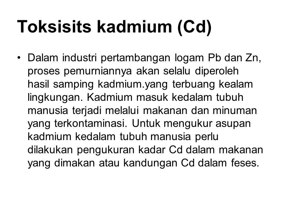 Toksisits kadmium (Cd) Dalam industri pertambangan logam Pb dan Zn, proses pemurniannya akan selalu diperoleh hasil samping kadmium.yang terbuang kealam lingkungan.