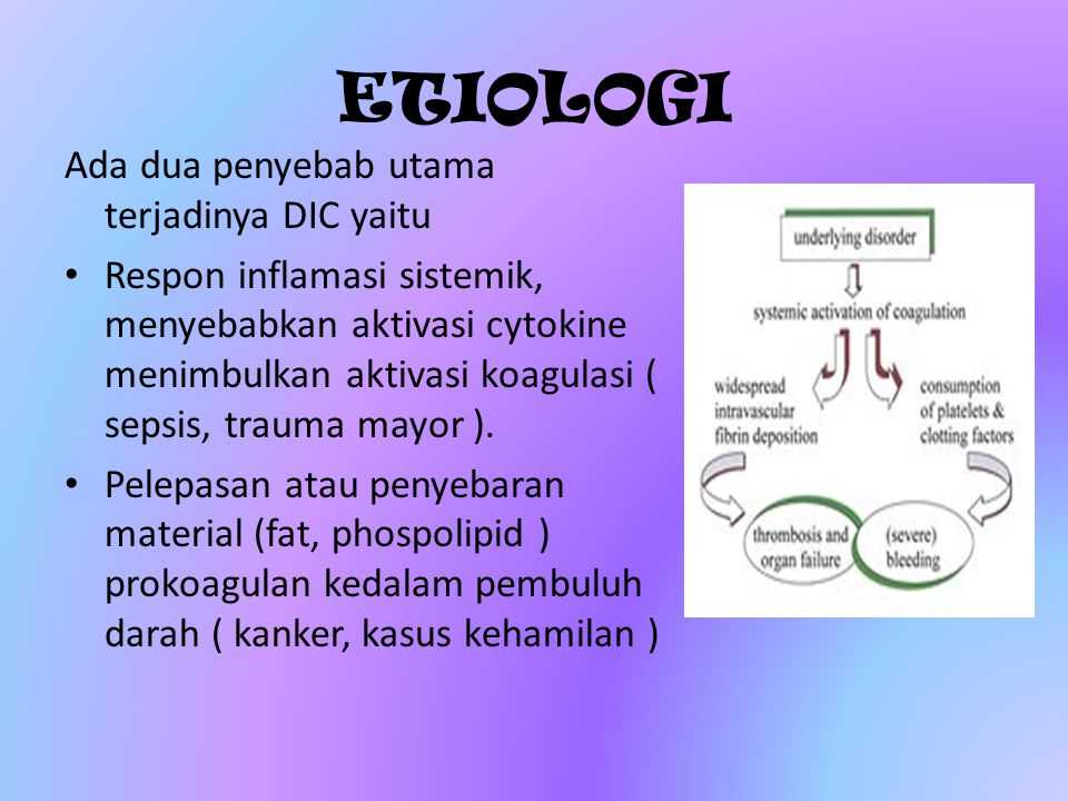 ETIOLOGI Ada dua penyebab utama terjadinya DIC yaitu Respon inflamasi sistemik, menyebabkan aktivasi cytokine menimbulkan aktivasi koagulasi ( sepsis,