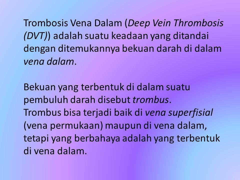 Trombosis Vena Dalam (Deep Vein Thrombosis (DVT)) adalah suatu keadaan yang ditandai dengan ditemukannya bekuan darah di dalam vena dalam. Bekuan yang