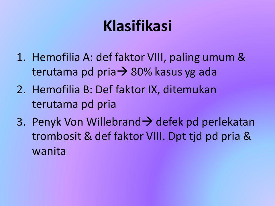 Klasifikasi 1.Hemofilia A: def faktor VIII, paling umum & terutama pd pria  80% kasus yg ada 2.Hemofilia B: Def faktor IX, ditemukan terutama pd pria