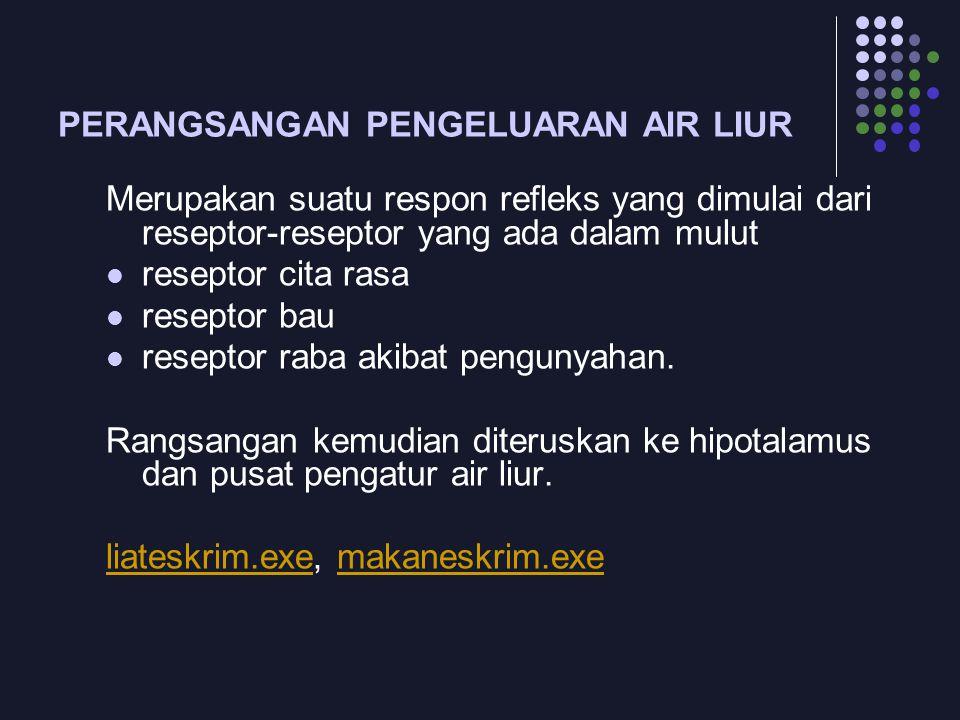 PERANGSANGAN PENGELUARAN AIR LIUR Merupakan suatu respon refleks yang dimulai dari reseptor-reseptor yang ada dalam mulut reseptor cita rasa reseptor