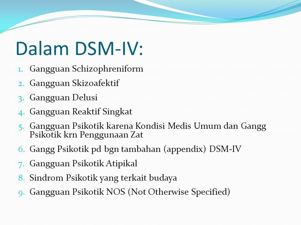 Dalam DSM-IV: 1. Gangguan Schizophreniform 2. Gangguan Skizoafektif 3. Gangguan Delusi 4. Gangguan Reaktif Singkat 5. Gangguan Psikotik karena Kondisi