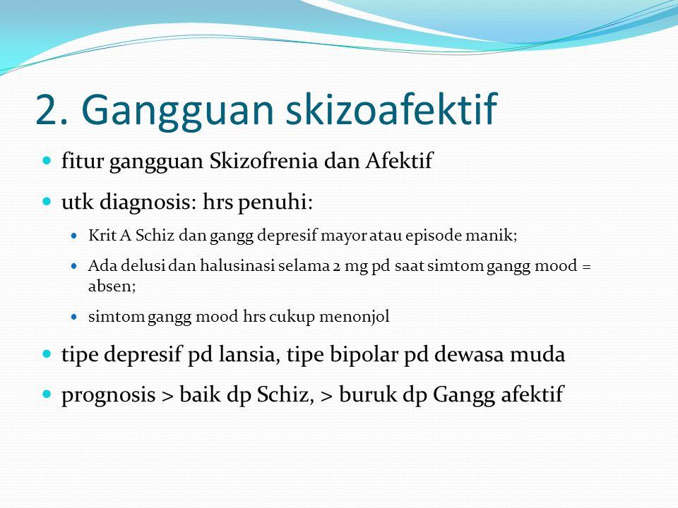 2. Gangguan skizoafektif fitur gangguan Skizofrenia dan Afektif utk diagnosis: hrs penuhi: Krit A Schiz dan gangg depresif mayor atau episode manik; A