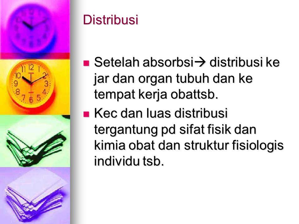 Distribusi Setelah absorbsi  distribusi ke jar dan organ tubuh dan ke tempat kerja obattsb. Setelah absorbsi  distribusi ke jar dan organ tubuh dan