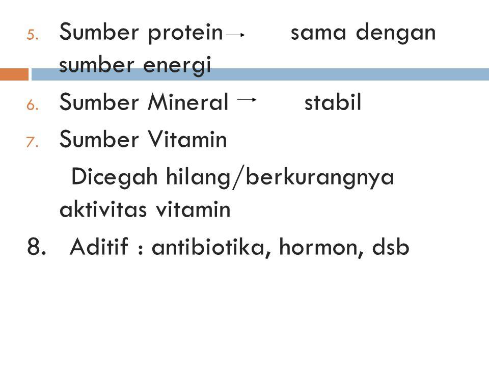 5. Sumber protein sama dengan sumber energi 6. Sumber Mineral stabil 7. Sumber Vitamin Dicegah hilang/berkurangnya aktivitas vitamin 8. Aditif : antib