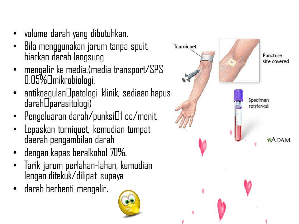 volume darah yang dibutuhkan. Bila menggunakan jarum tanpa spuit, biarkan darah langsung mengalir ke media.(media transport/SPS 0,05%mikrobiologi, ant