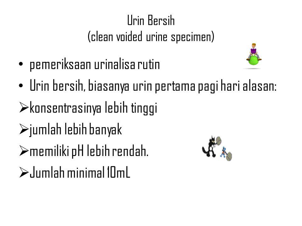 Urin Bersih (clean voided urine specimen) pemeriksaan urinalisa rutin Urin bersih, biasanya urin pertama pagi hari alasan:  konsentrasinya lebih ting