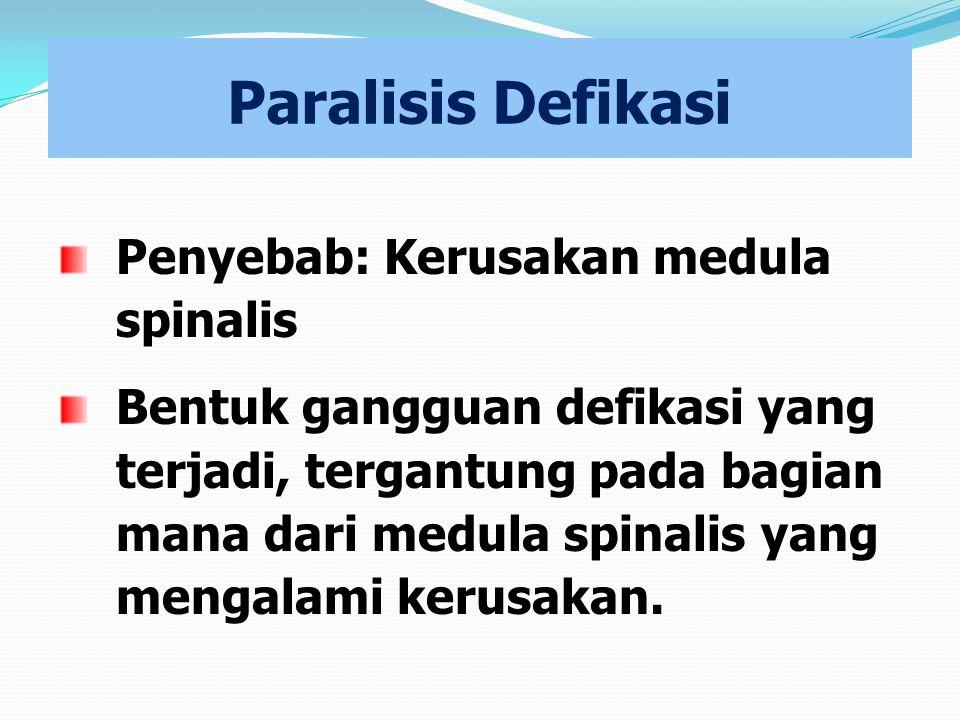 Paralisis Defikasi Penyebab: Kerusakan medula spinalis Bentuk gangguan defikasi yang terjadi, tergantung pada bagian mana dari medula spinalis yang me