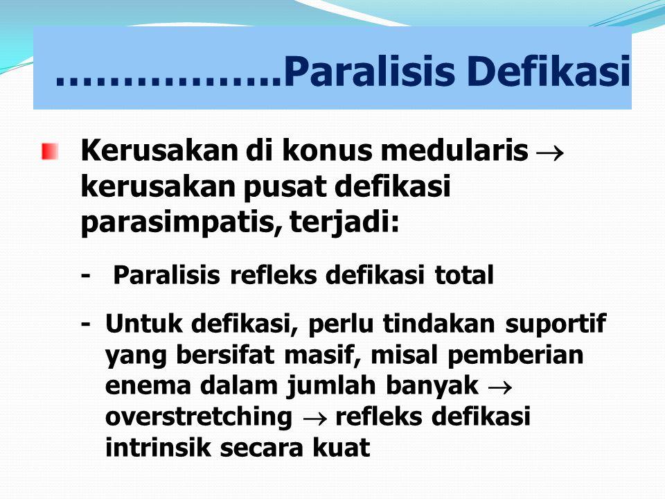 ……………..Paralisis Defikasi Kerusakan di konus medularis  kerusakan pusat defikasi parasimpatis, terjadi: - Paralisis refleks defikasi total -Untuk def