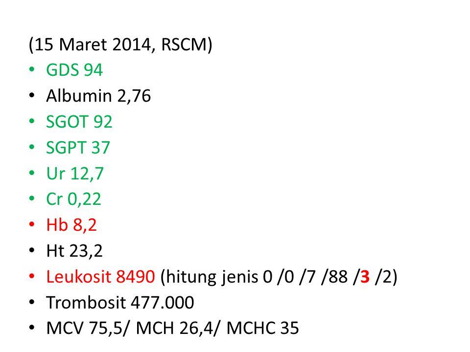 (15 Maret 2014, RSCM) GDS 94 Albumin 2,76 SGOT 92 SGPT 37 Ur 12,7 Cr 0,22 Hb 8,2 Ht 23,2 Leukosit 8490 (hitung jenis 0 /0 /7 /88 /3 /2) Trombosit 477.