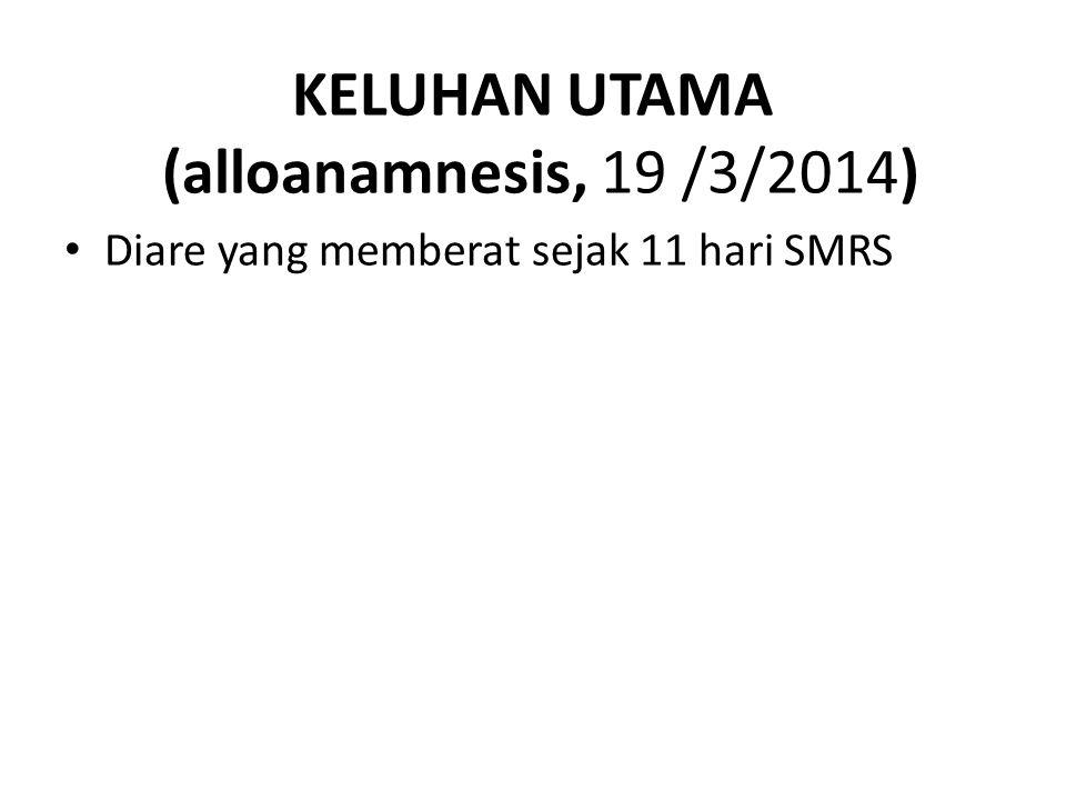 KELUHAN UTAMA (alloanamnesis, 19 /3/2014) Diare yang memberat sejak 11 hari SMRS