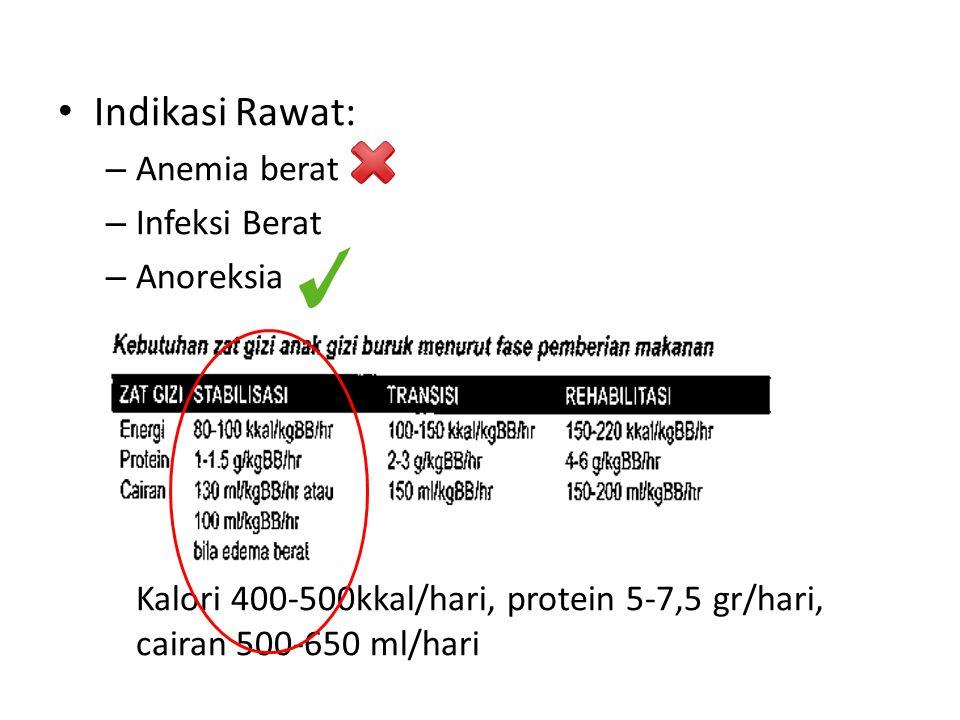 Indikasi Rawat: – Anemia berat – Infeksi Berat – Anoreksia K Kalori 400-500kkal/hari, protein 5-7,5 gr/hari, cairan 500-650 ml/hari
