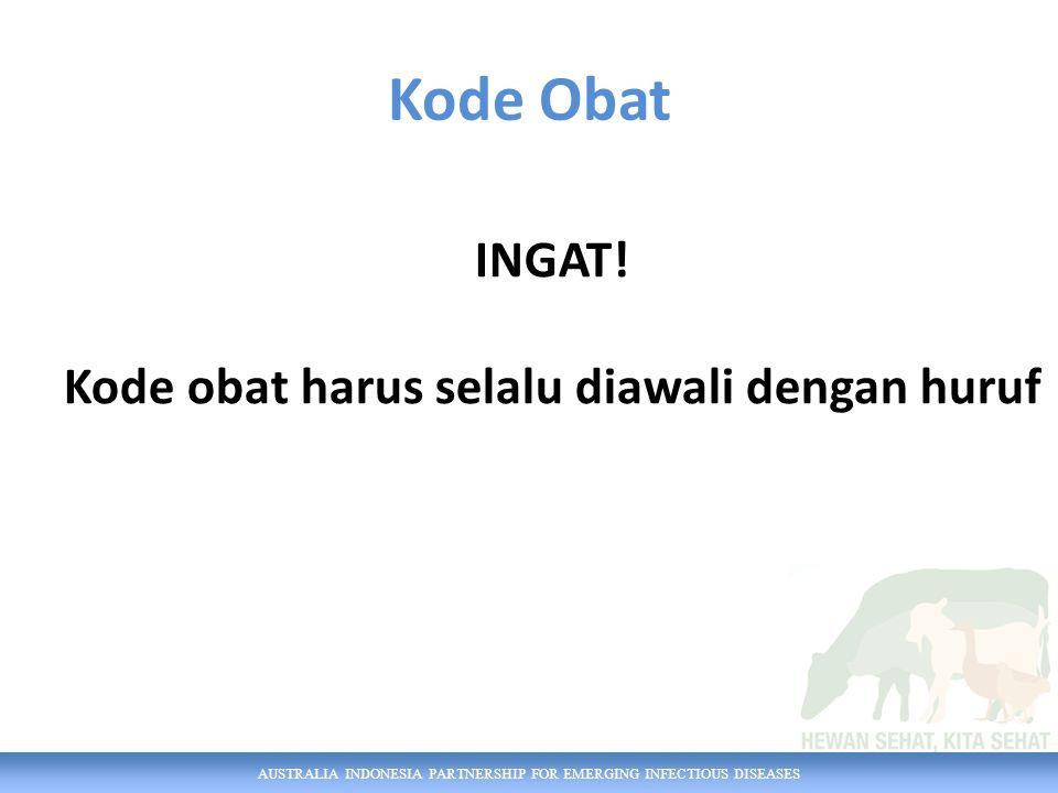 AUSTRALIA INDONESIA PARTNERSHIP FOR EMERGING INFECTIOUS DISEASES Kode Obat INGAT.