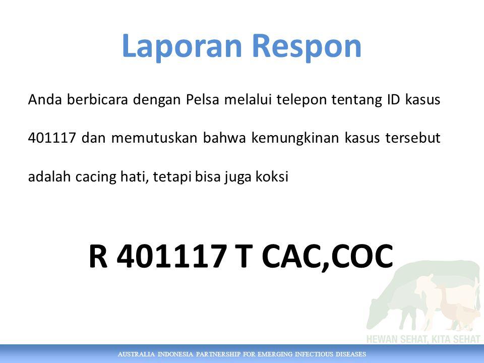 AUSTRALIA INDONESIA PARTNERSHIP FOR EMERGING INFECTIOUS DISEASES Untuk kasus dengan ID 401687, petugas melakukan pengambilan 2 sampel serum dalam tabung vakum untuk diuji secara serologis di Balai Veteriner Maros Laporan Pengambilan Sampel LAB 2055 SRM TV SER 2 130701