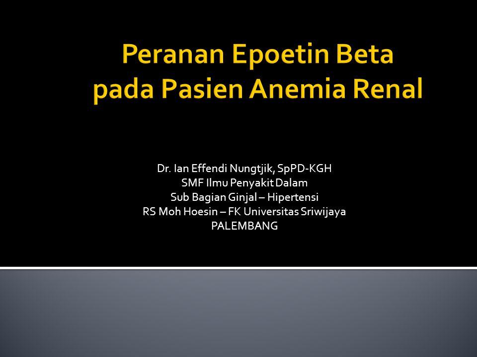Dr. Ian Effendi Nungtjik, SpPD-KGH SMF Ilmu Penyakit Dalam Sub Bagian Ginjal – Hipertensi RS Moh Hoesin – FK Universitas Sriwijaya PALEMBANG